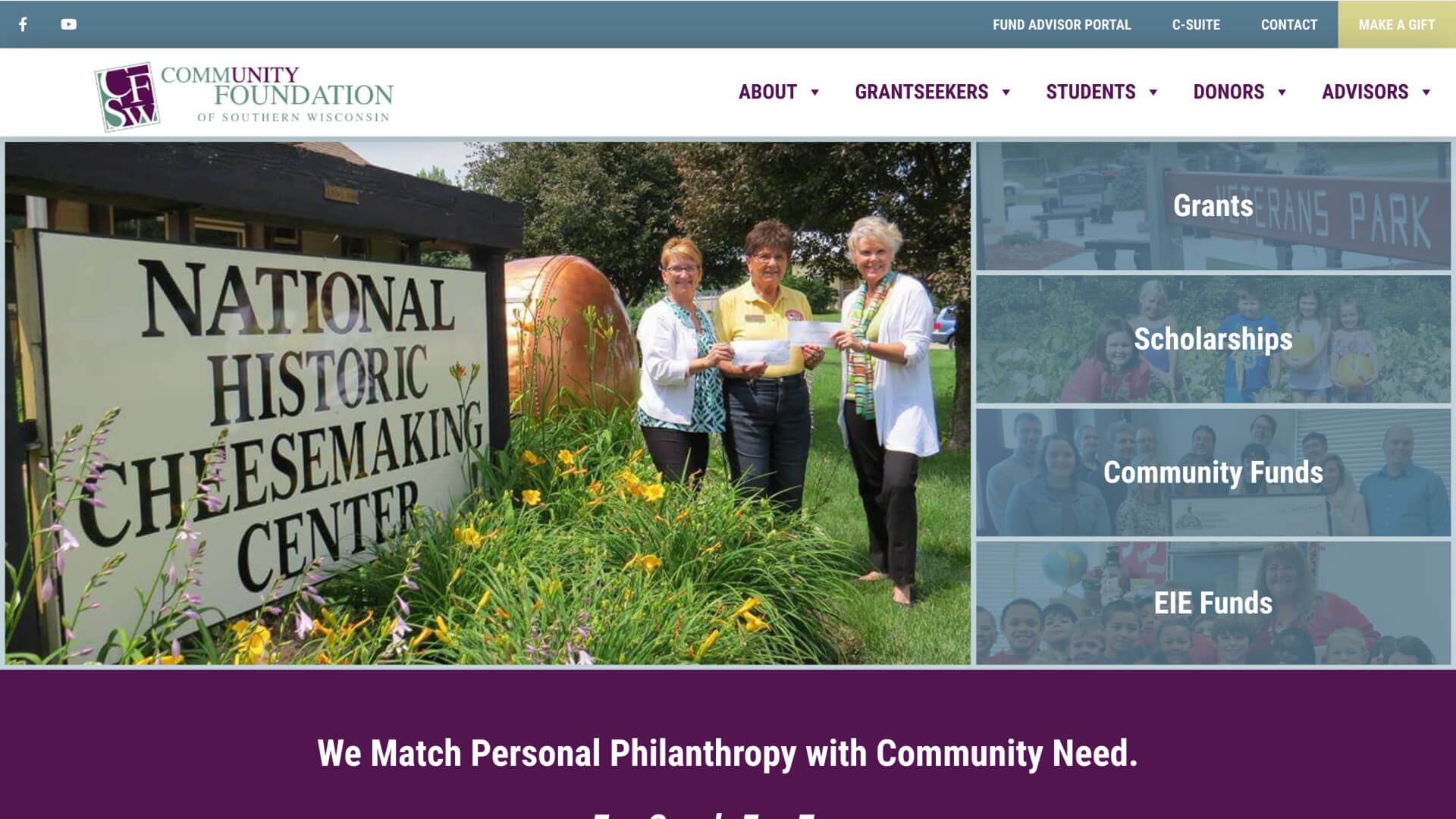 Screenshot of Community Foundation of Southern Wisconsin homepage on May 5, 2020
