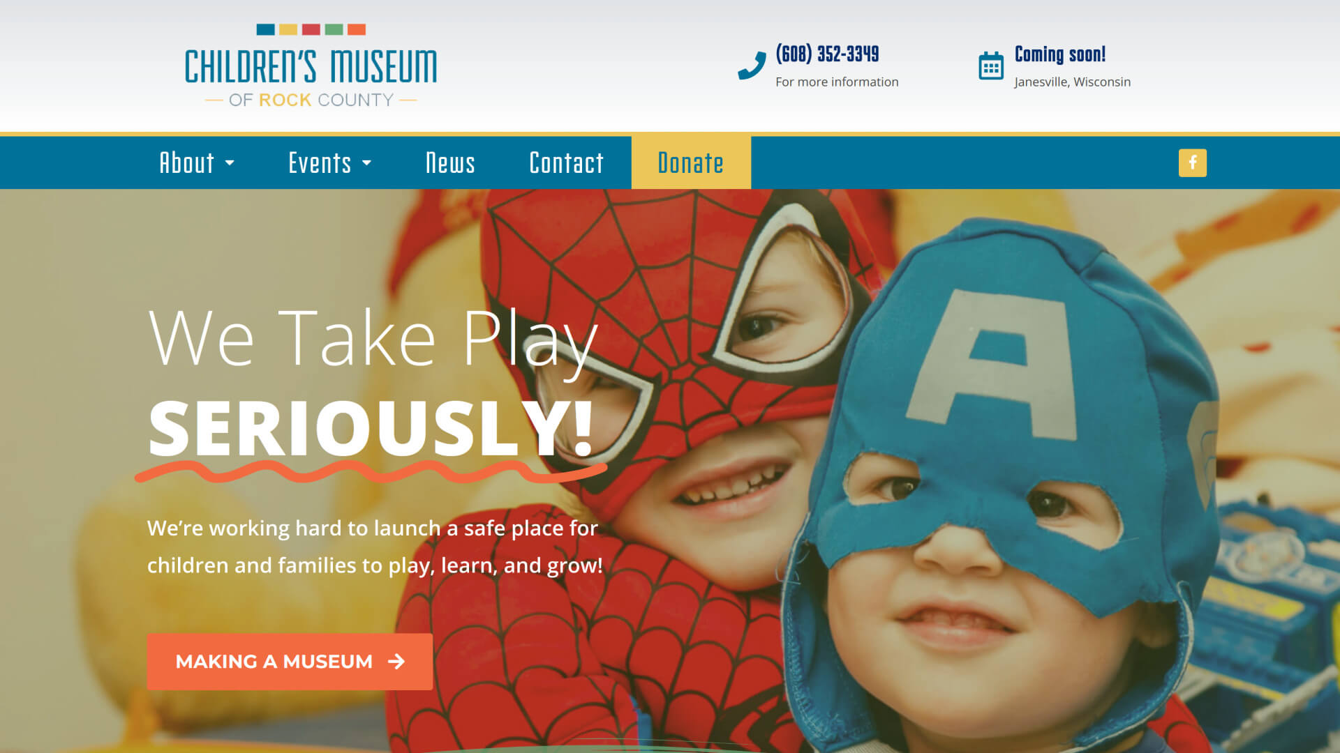 Screenshot of Children's Museum of Rock County homepage from March 27, 2020