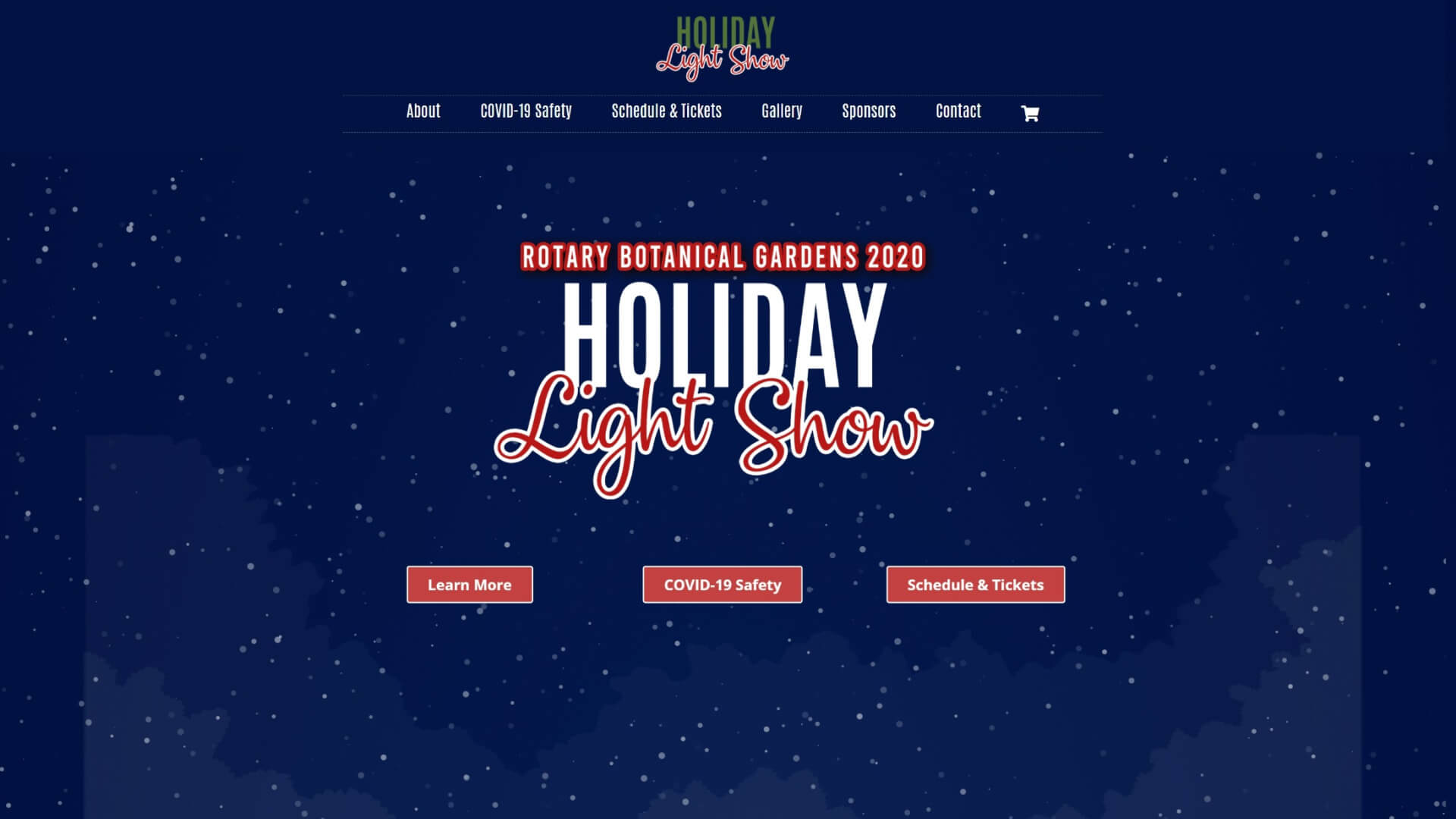 Screenshot of RBG Holiday Light Show homepage from Jan. 1, 2020