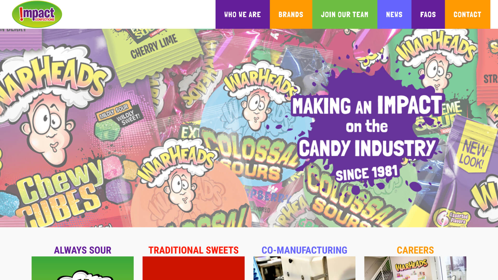 Screenshot of Impact Confections homepage from March 27, 2020