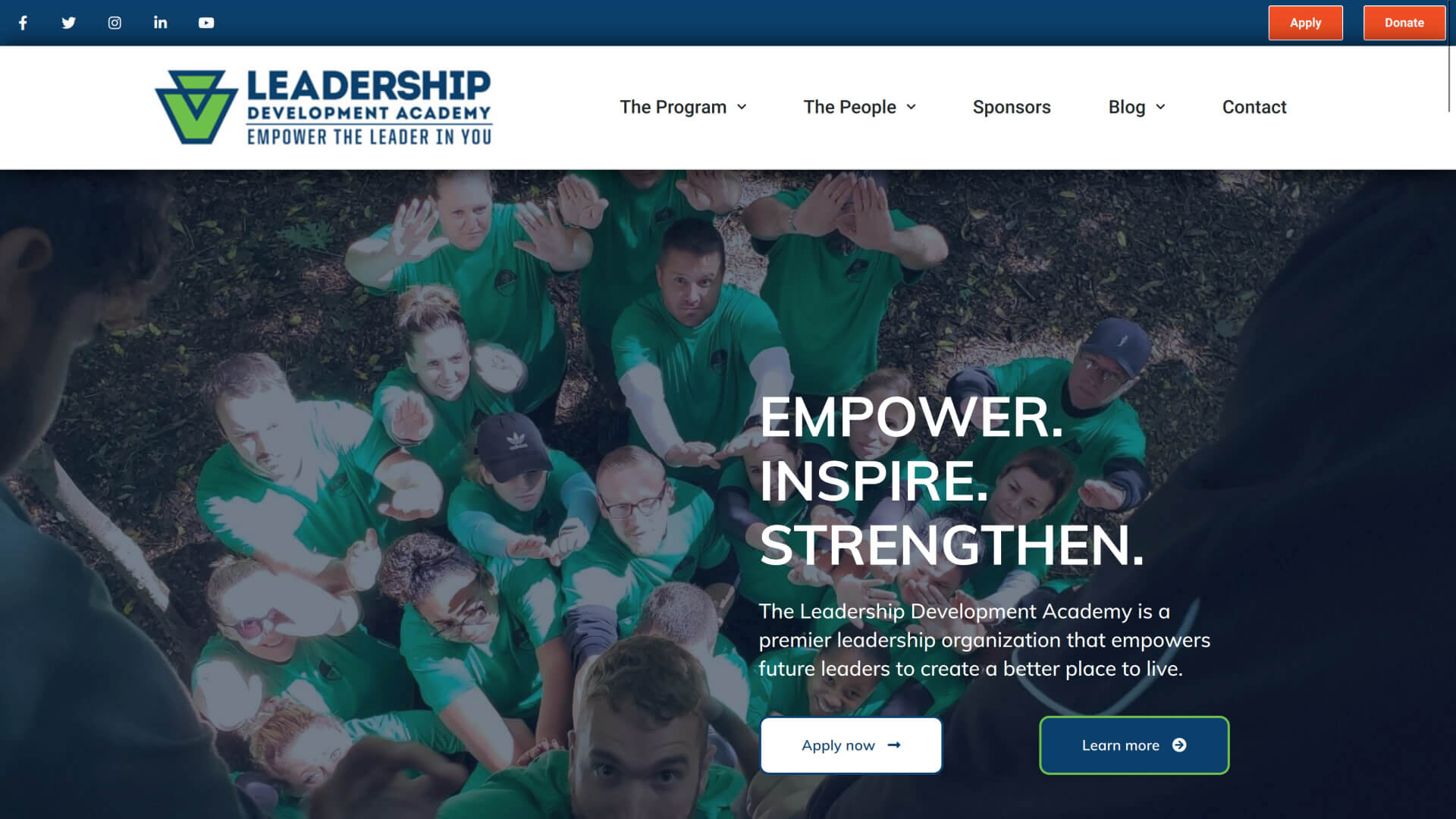 Screenshot of Leadership Development Academy homepage from March 27, 2020