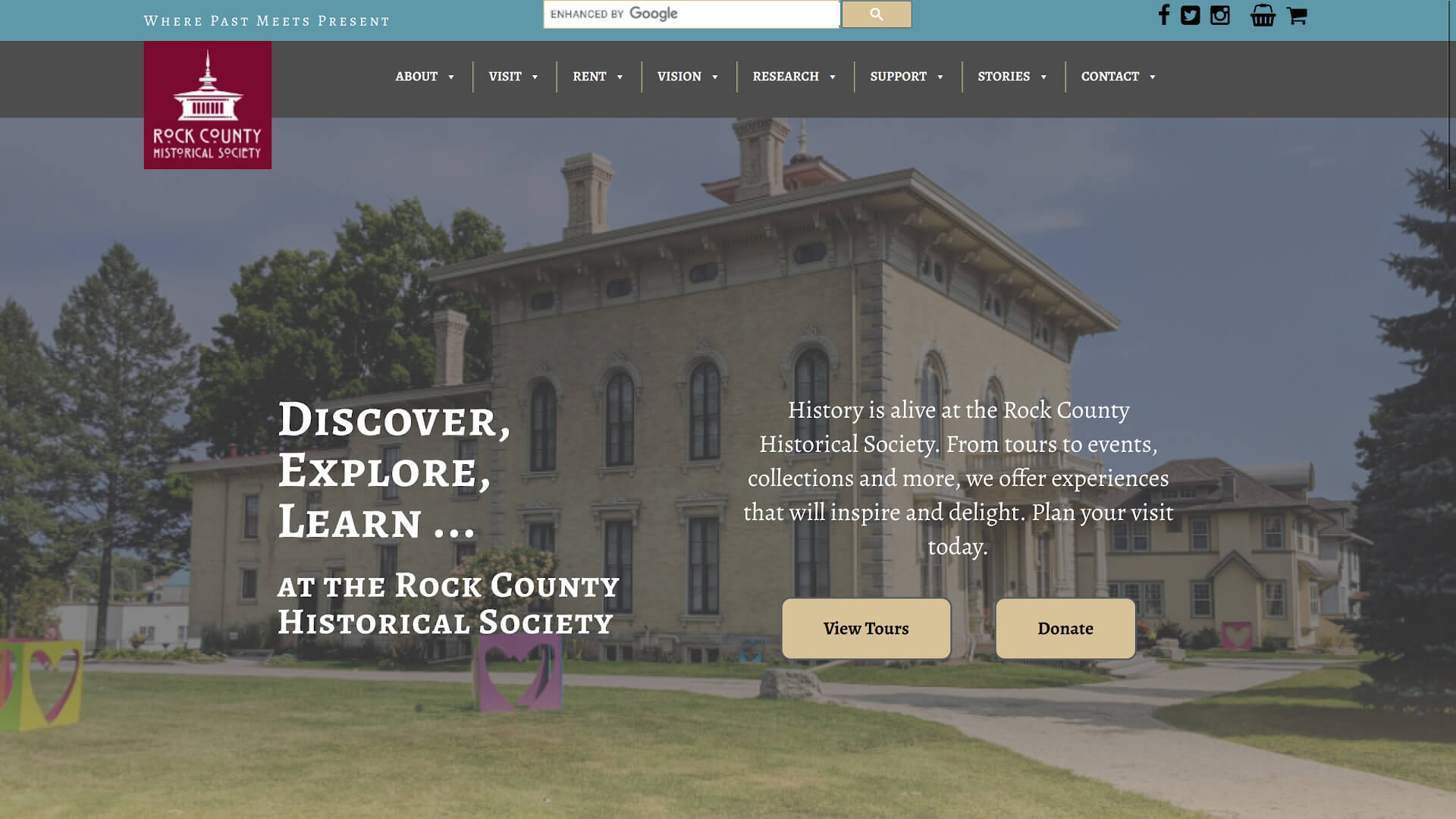 Screenshot of Rock Co. Historical Society homepage from March 27, 2020