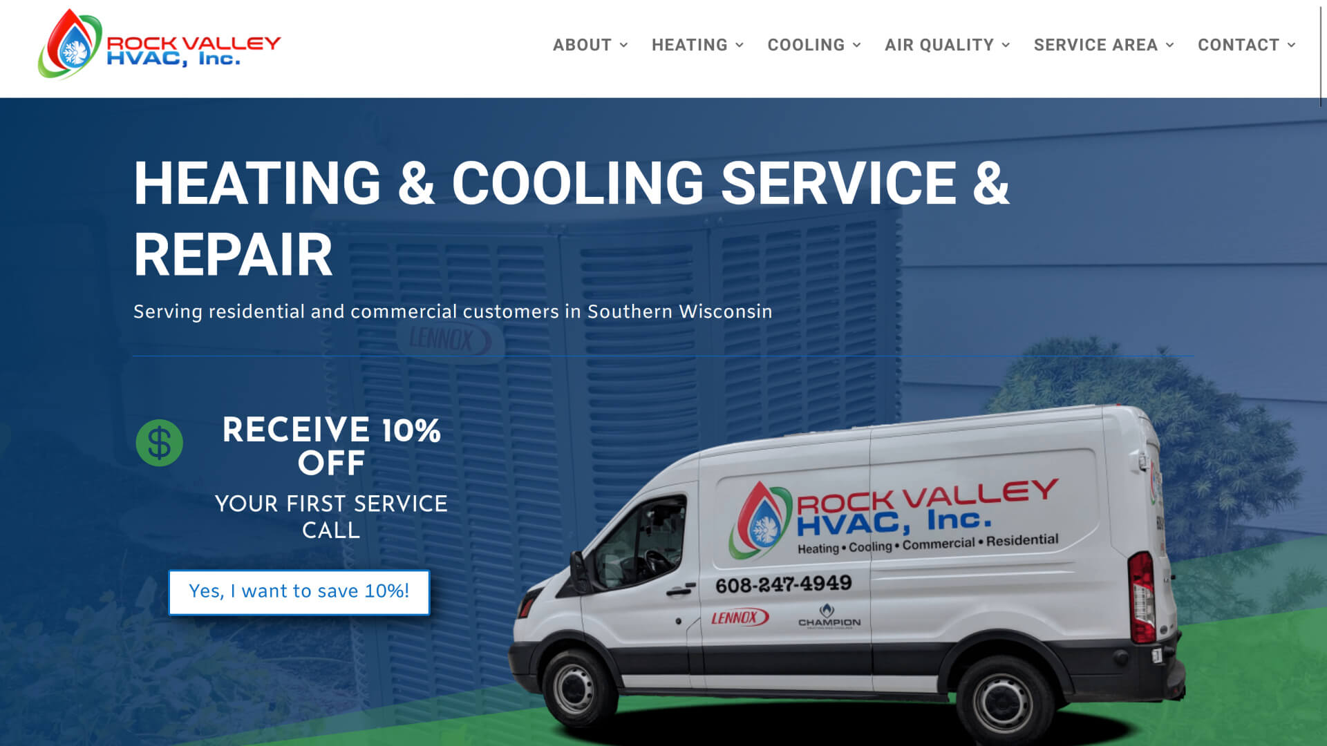 Screenshot of Rock Valley HVAC homepage from March 27, 2020