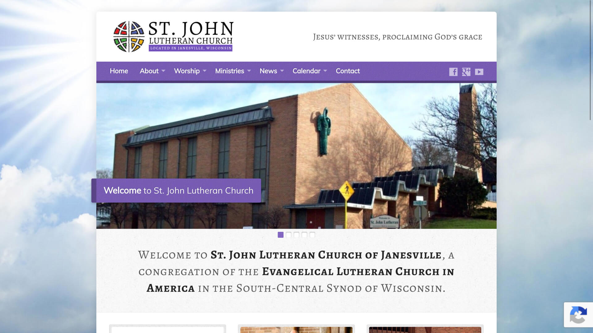 Screenshot of St John Lutheran Church homepage from March 27, 2020