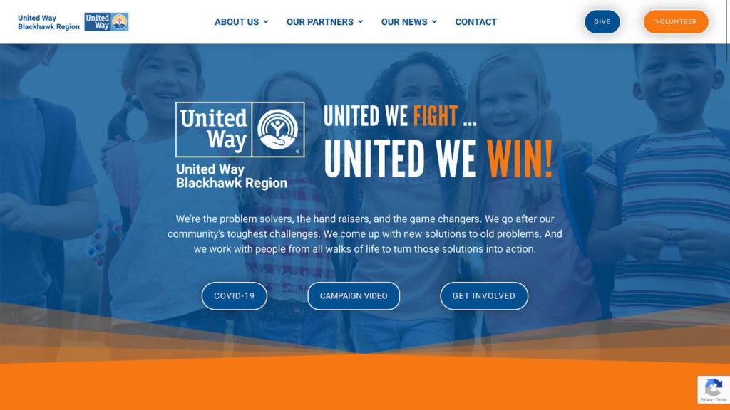 Screenshot of United Way Blackhawk Region homepage from Nov. 1, 2020