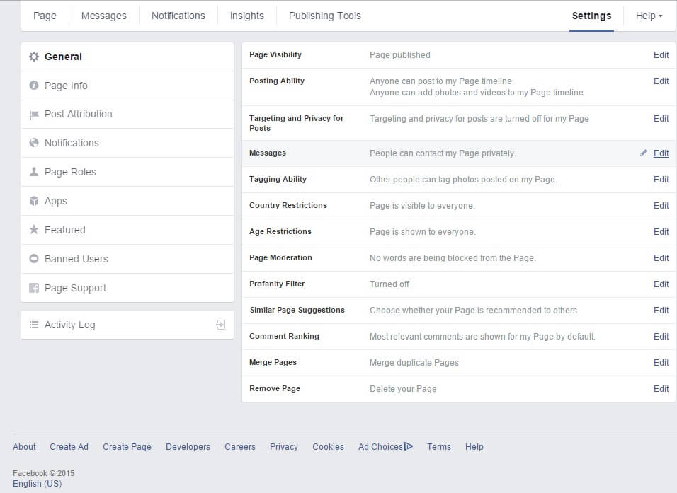 Facebook Page Settings Screen