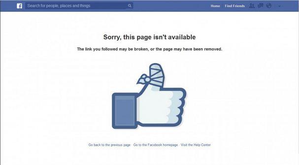 Facebook Broken Link Screen